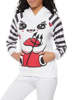 Fleece Hoodie with Devil Design - 3036038341484