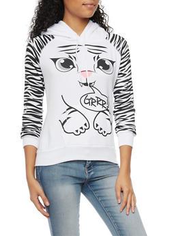 Fleece Hoodie with Tiger Design - 3036038341486