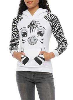 Fleece Hoodie with Zebra Design - WHITE - 3036038341487