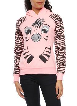 Fleece Hoodie with Zebra Design - 3036038341487