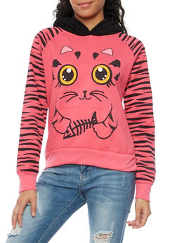 Graphic Hoodie with Cat Print - 3036038341488