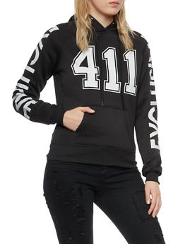 Graphic Hoodie with 411 and Exclusive Prints - BLACK - 3036038342422