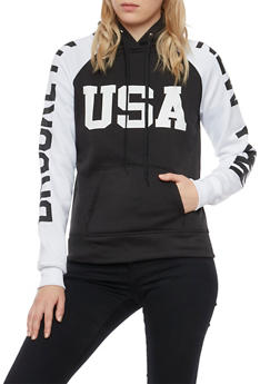 Graphic Color Block Hoodie with Brooklyn New York USA Prints - BLACK/WHITE - 3036038342424