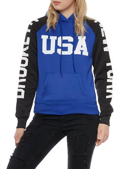Graphic Color Block Hoodie with Brooklyn New York USA Prints - 3036038342424