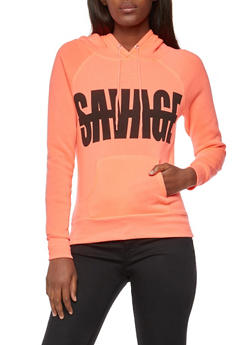 Long Sleeve Savage Graphic Hooded Sweatshirt - 3036038342503