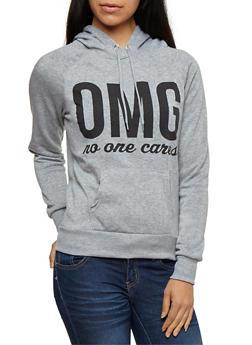 Long Sleeve OMG No One Cares Hooded Sweatshirt - 3036038342504