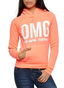 Long Sleeve OMG No One Cares Hooded Sweatshirt - 3036038342504