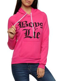 Fleece Boys Lie Graphic Hoodie - 3036038342506
