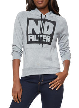 Long Sleeve No Filter Graphic Hooded Sweatshirt - 3036038342507