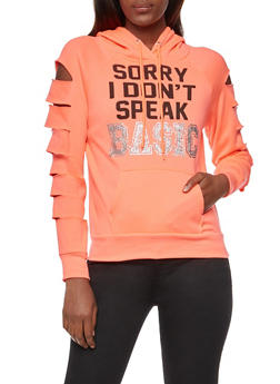 Laser Cut Sleeves Sorry I Dont Speak Basic Graphic Hooded Sweatshirt - 3036038342510