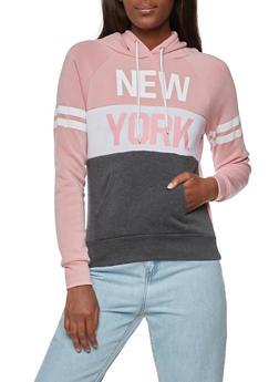 Long Sleeve New York Graphic Hooded Sweatshirt - 3036038342514