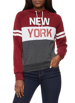 Long Sleeve New York Graphic Hooded Sweatshirt - 3036038342514