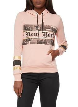 Long Sleeve New York Skyline Graphic Hooded Sweatshirt - 3036038342515