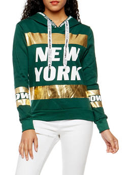 New York Foil Graphic Hooded Sweatshirt - 3036038342516
