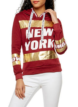 New York Foil Graphic Hooded Sweatshirt - 3036038342516