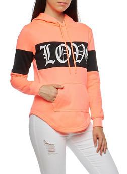 Love Graphic Color Block Sweatshirt - 3036038342519