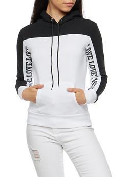 Love Graphic Hooded Sweatshirt - BLACK - 3036038342521