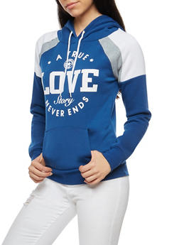 True Love Graphic Hooded Sweatshirt - 3036038342522