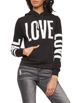 Love Graphic Print Hooded Sweatshirt - 3036038342524