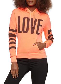 Love Graphic Print Hooded Sweatshirt - 3036038342524