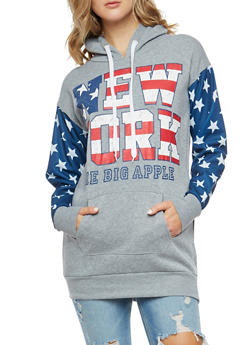 New York Graphic Star Printed Hooded Sweatshirt - 3036038342533
