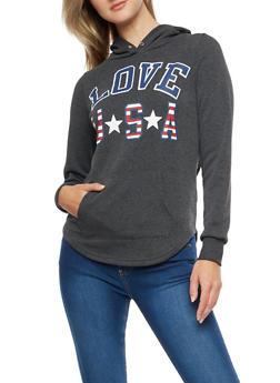 Love USA Graphic Round Hem Sweatshirt - 3036038342534