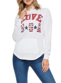 Love USA Graphic Round Hem Hoodie - 3036038342534