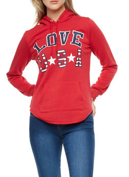 Love USA Graphic Round Hem Sweatshirt - 3036038342534