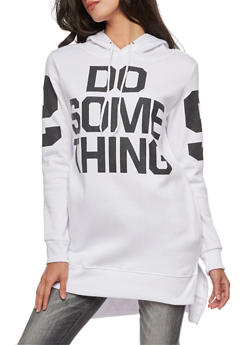 High Low Graphic Hooded Sweatshirt - WHITE - 3036038342539