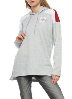 Fleece Graphic Hooded Tunic Sweatshirt - 3036038342540