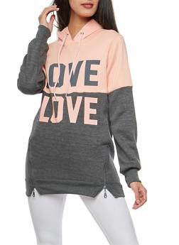 Love Color Block Sweatshirt with Zip Details - 3036038342544