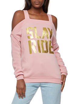 Cold Shoulder Slay Ride Graphic Sweatshirt - 3036038342545
