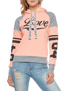 Love Graphic Color Block Hooded Sweatshirt - 3036038342548