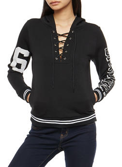 Brooklyn Graphic Lace Up Hooded Sweatshirt - 3036038342549