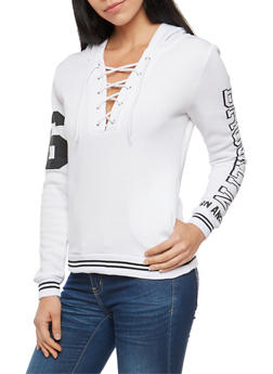 Brooklyn Graphic Lace Up Hooded Sweatshirt - WHT-BLK - 3036038342549
