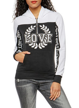 Love Crest Graphic Hooded Sweatshirt - 3036038342550