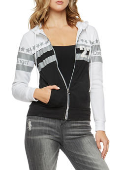 Love Angel Graphic Zip Front Hoodie - 3036038342551