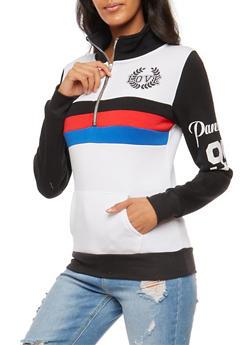 Love Striped Graphic Half Zip Sweater - 3036038342553
