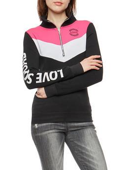 Love Squad Graphic Half Zip Sweatshirt - 3036038342554