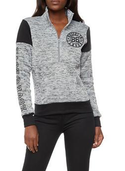 Half Zip Marled Graphic Print Sweater - 3036038342561