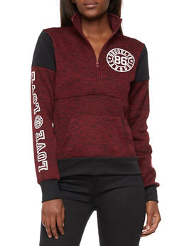 Half Zip Marled Graphic Print Sweatshirt - 3036038342561