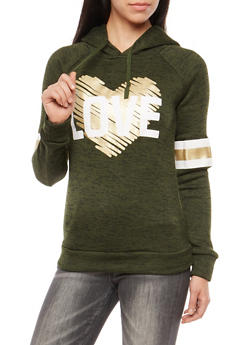 Foiled Heart Love Graphic Hooded Sweatshirt - 3036038342564