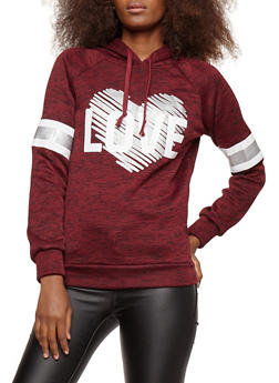 Foiled Heart Love Graphic Hooded Sweatshirt - 3036038342564