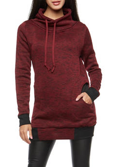 Marled Funnel Neck Sweatshirt - 3036038342566