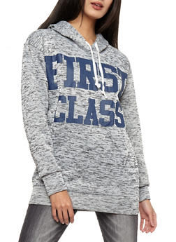 First Class Graphic Marled Hooded Sweatshirt - 3036038342569