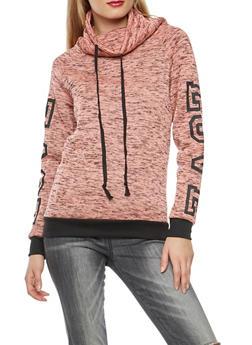 Marled Graphic Detail Cowl Sweatshirt - 3036038342571