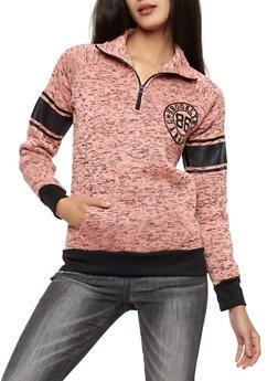 Brooklyn Graphic Marled Half Zip Sweatshirt - 3036038342572