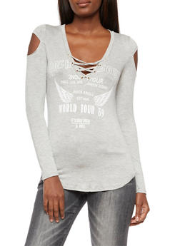 Long Sleeve Lace Up Graphic Top - 3036058759156