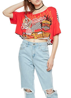 Racing Graphic Crop Top - 3036058759991