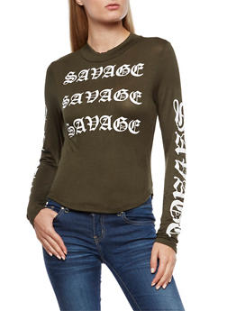 Savage Graphic Mock Neck Crop Top - 3036067330126